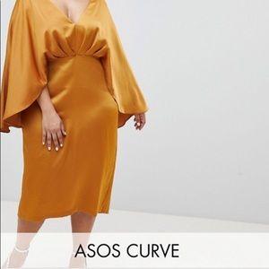 Satin Cape Kimono Sleeve Deep Plunge Midi Dress